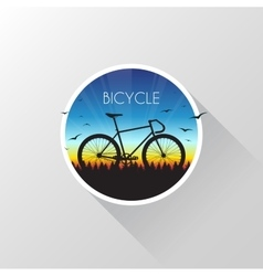 Silhouette of bicycle on nature at sunset vector image