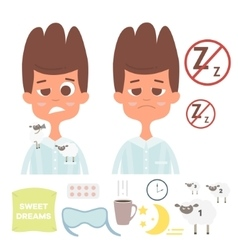 Sleepless set with man facespillowcup of vector image vector image