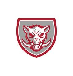 Wild Boar Razorback Head Angry Shield Retro vector image vector image