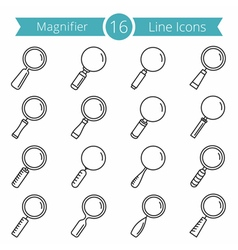 16 magnifying glass line icons vector image