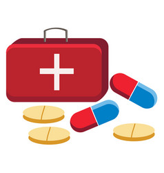 a first aid box with medicine or color vector image