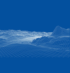 abstract 3d wire-frame landscape blueprint style vector image