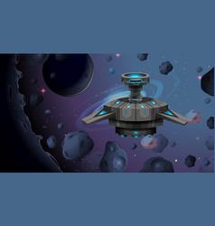 Alien ship in space scene vector