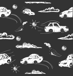 amazing seamless car pattern vector image