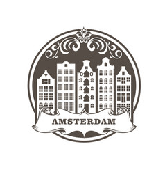 amsterdam city stamp - row generic buildings vector image