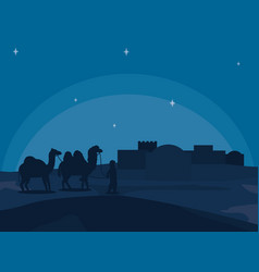 Arab town at night vector