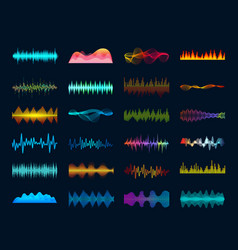 audio waveform signals wave song equalizer vector image