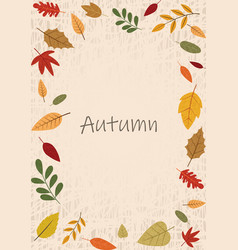 Autumn flat leaves frame on brown background vector