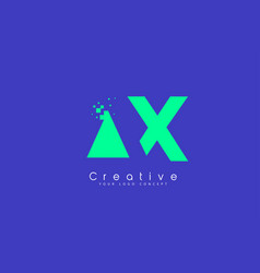 ax letter logo design with negative space concept vector image