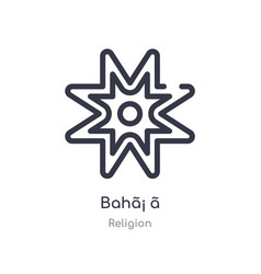 Bah outline icon isolated line from religion vector