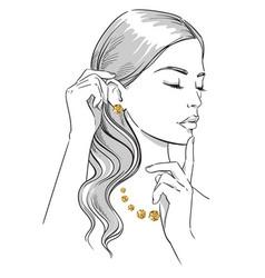 beauty fashion portrait a woman wearing jewellery vector image