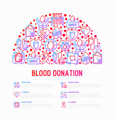 blood donation mutual aid concept in half circle vector image
