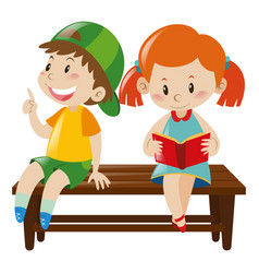 Boy and girl on bench vector