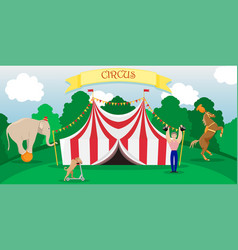 bright poster circus performance with a tent vector image