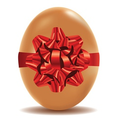 Brown Egg with Bow vector image