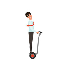 Cartoon business man character riding on self vector