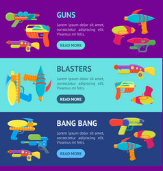 cartoon toy water guns banner horizontal set vector image
