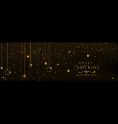 christmas banner design with star glowing vector image