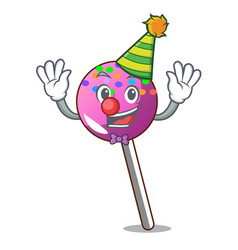 Clown lollipop with sprinkles mascot cartoon vector