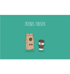 Coffee bag coffee cup vector