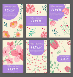 collection flyers templates with floral vector image