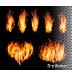 Collection of fire - flames and a heart shape vector