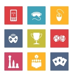 Colorful game icons set vector image