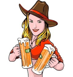 Cowgirl With Beer vector