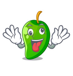 crazy green mango isolated with the mascot vector image