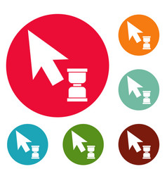 cursor wait web icons circle set vector image