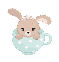 Cute baby boy rabbit inside the cup pastel colors vector