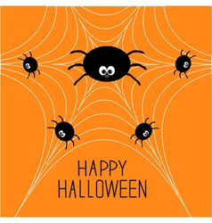 Cute cartoon spider family on the web Halloween vector