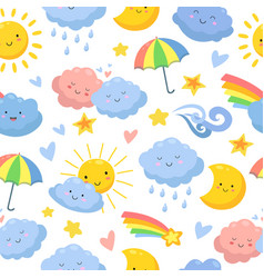 cute clouds pattern sky backdrop dream and stars vector image