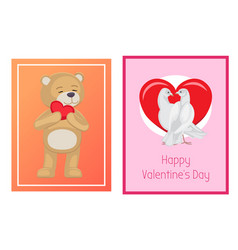 cute soft toy bears and white doves in love set vector image