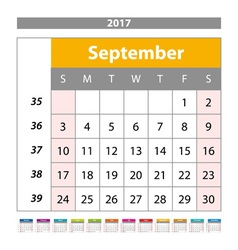 Desk Calendar for 2017 Year September Design Print vector image