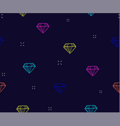 diamond seamless pattern background with neon vector image