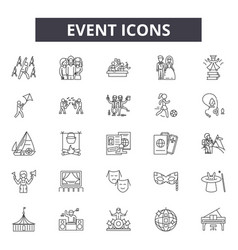 event line icons signs set outline vector image