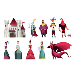 Fairy tales characters fantasy knight and dragon vector