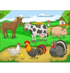 Farm cartoon educational vector image