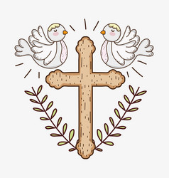 First communion with cross and doves with branches vector