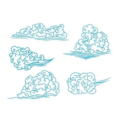 Fluffy clouds set vector image