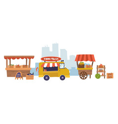 food market cafeteria or eatery wooden stalls and vector image