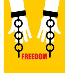 Freedom broken fetters liberation from slavery vector