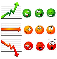 graphs of stability profit and falls vector image