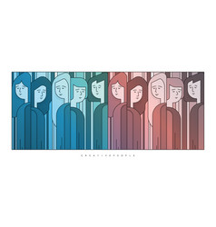 Group of few people abstract art vector