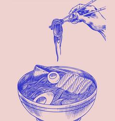 hand holds chopsticks ramen noodles japanese vector image