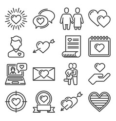 heart icons set love sign on white background vector image