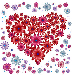 Heart with floral elements on white background vector