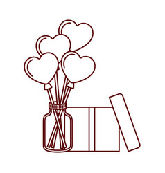 hearts balloons with gift box isolated icon vector image