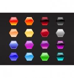 hexagon shape buttons vector image vector image